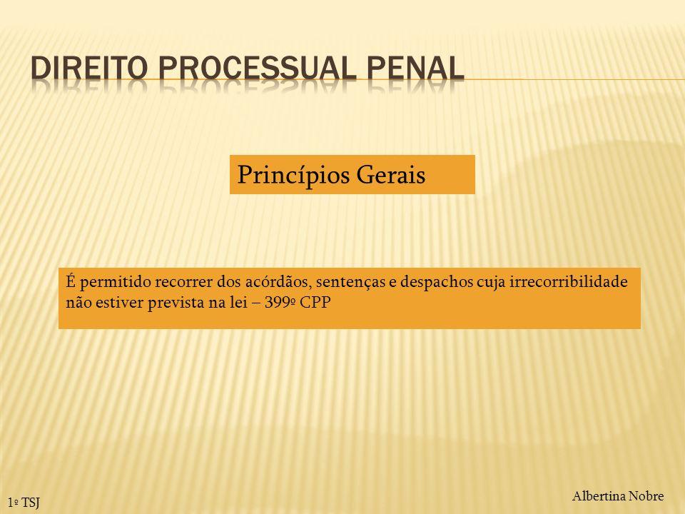 Albertina Nobre 1º TSJ Princípios Gerais É permitido recorrer dos acórdãos, sentenças e despachos cuja irrecorribilidade não estiver prevista na lei –