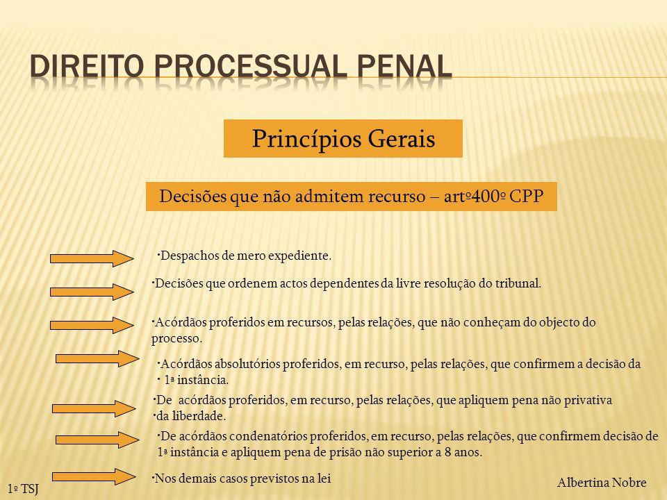 Albertina Nobre 1º TSJ Decisões que não admitem recurso – artº400º CPP Despachos de mero expediente. Decisões que ordenem actos dependentes da livre r