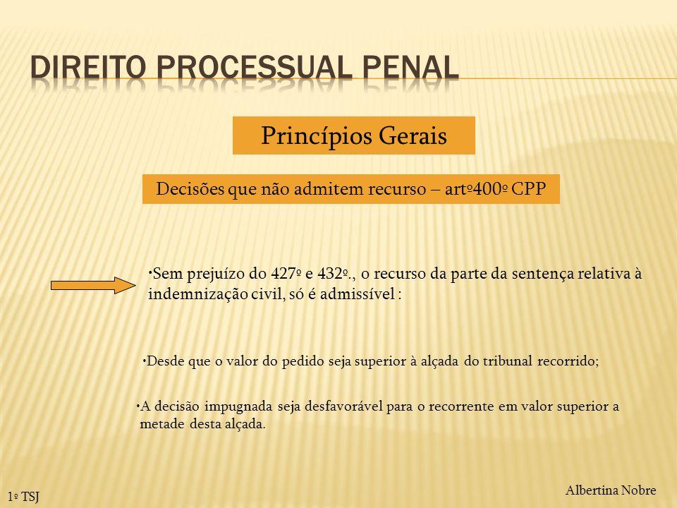 Albertina Nobre 1º TSJ Decisões que não admitem recurso – artº400º CPP Princípios Gerais Sem prejuízo do 427º e 432º., o recurso da parte da sentença