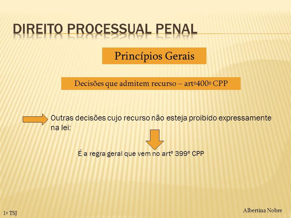 Princípios Gerais Decisões que admitem recurso – artº400º CPP Outras decisões cujo recurso não esteja proibido expressamente na lei: É a regra geral q