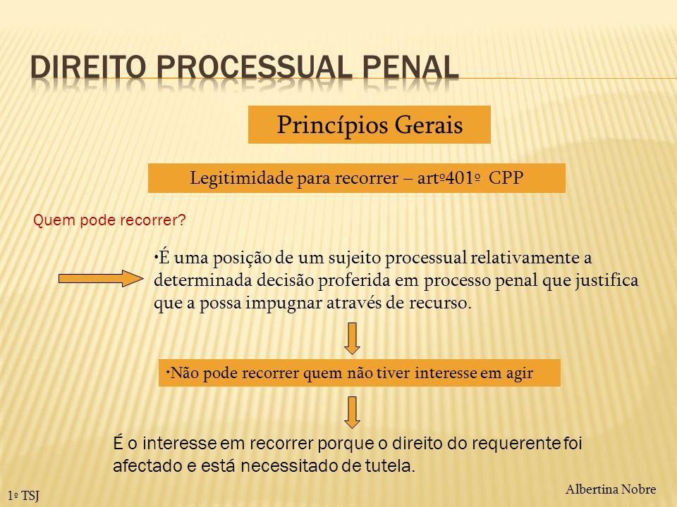 1º TSJ Legitimidade para recorrer – artº401º CPP Princípios Gerais É uma posição de um sujeito processual relativamente a determinada decisão proferid