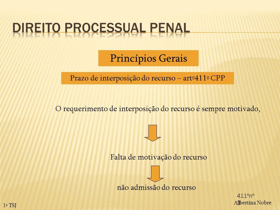 Albertina Nobre 1º TSJ Prazo de interposição do recurso – artº411º CPP Princípios Gerais O requerimento de interposição do recurso é sempre motivado,