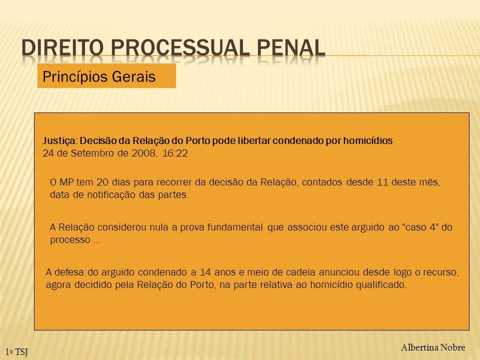 Albertina Nobre1º TSJ Efeitos dos recursos – artº411º e sgs CPP Princípios Gerais Com que efeito sobe o recurso.