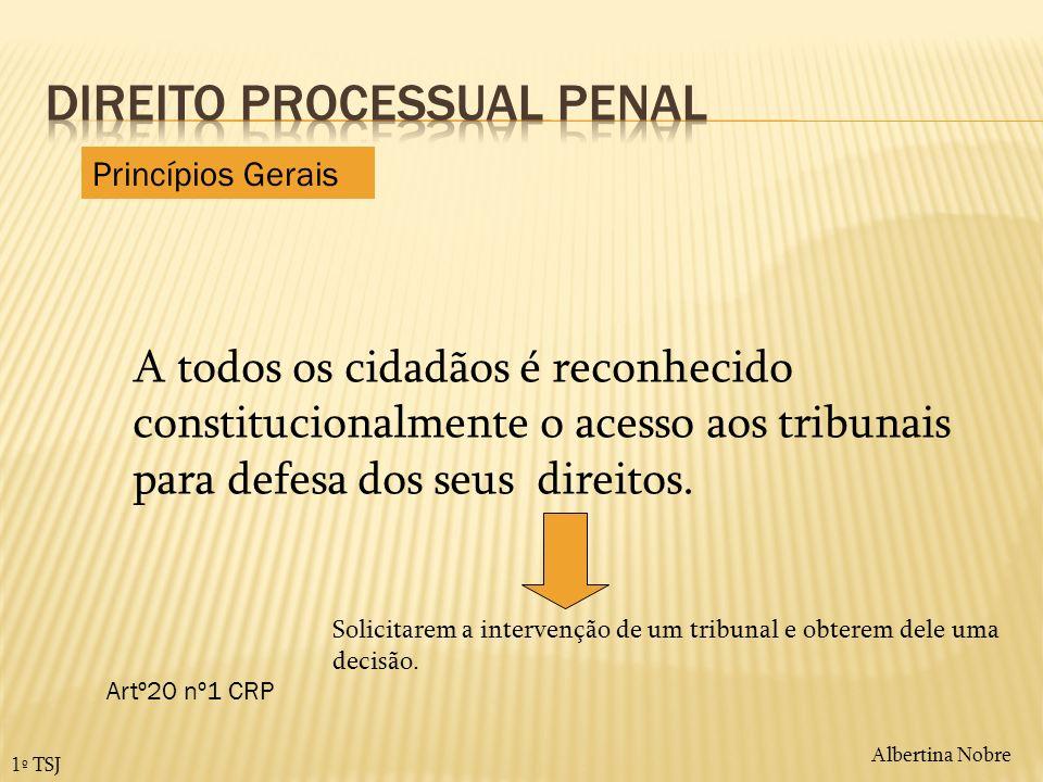 Albertina Nobre 1º TSJ A todos os cidadãos é reconhecido constitucionalmente o acesso aos tribunais para defesa dos seus direitos. Artº20 nº1 CRP Soli