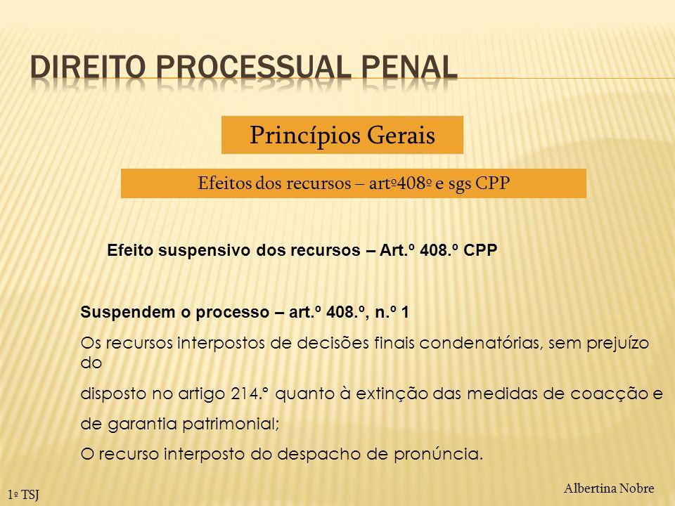 Albertina Nobre 1º TSJ Efeito suspensivo dos recursos – Art.º 408.º CPP Suspendem o processo – art.º 408.º, n.º 1 Os recursos interpostos de decisões