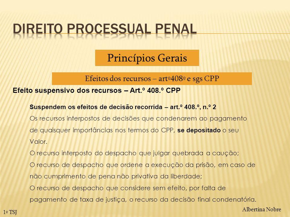 Albertina Nobre 1º TSJ Efeito suspensivo dos recursos – Art.º 408.º CPP Suspendem os efeitos de decisão recorrida – art.º 408.º, n.º 2 Os recursos int