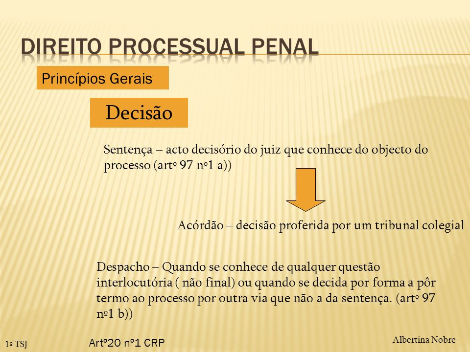 Albertina Nobre 1º TSJ Decisão Artº20 nº1 CRP Sentença – acto decisório do juiz que conhece do objecto do processo (artº 97 nº1 a)) Acórdão – decisão
