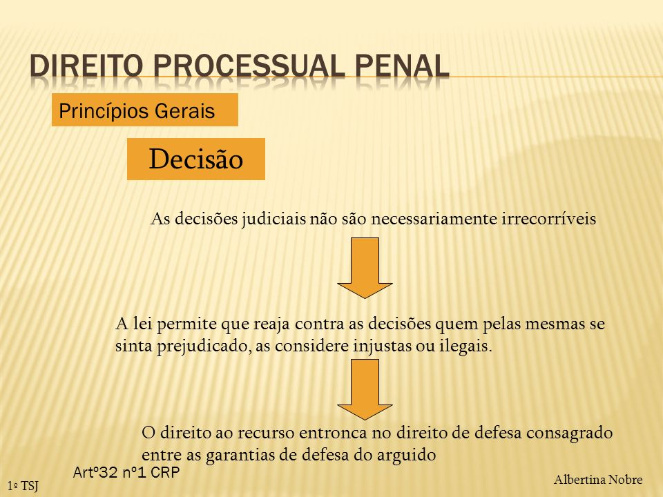 Albertina Nobre 1º TSJ Recurso - definição É o caminho legal para corrigir os erros cometidos na decisão judicial penal, o instrumento que permite sujeitar a decisão a um novo juízo de apreciação, agora por parte de um tribunal hierarquicamente superior.
