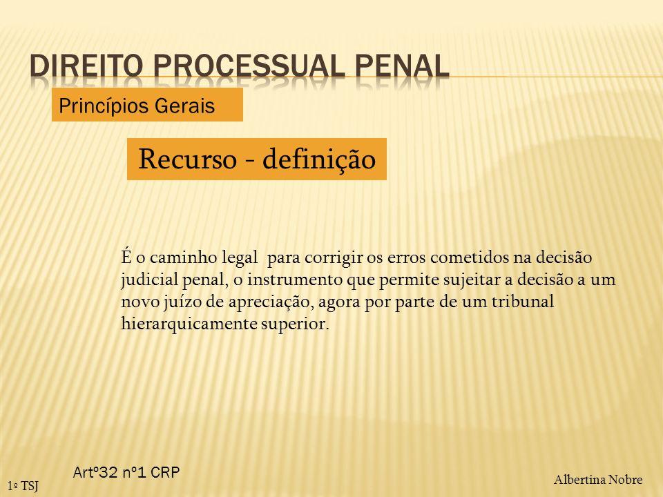Albertina Nobre 1º TSJ Recurso - definição É o caminho legal para corrigir os erros cometidos na decisão judicial penal, o instrumento que permite suj
