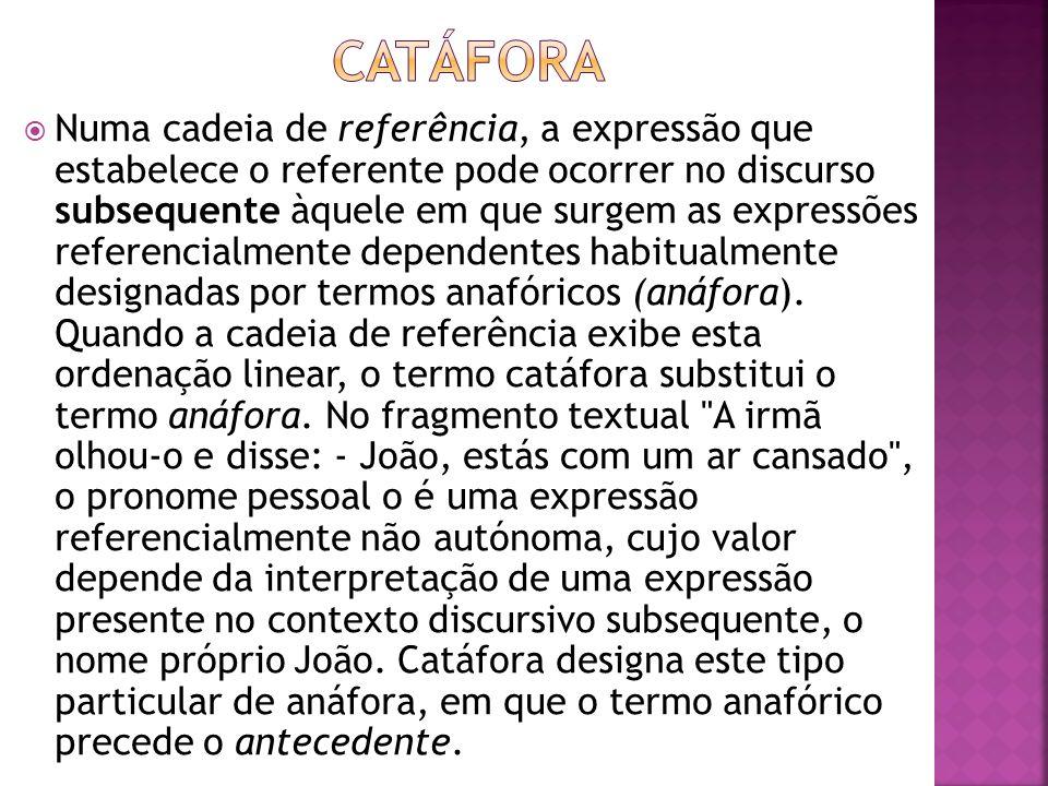 Numa cadeia de referência, a expressão que estabelece o referente pode ocorrer no discurso subsequente àquele em que surgem as expressões referencialm