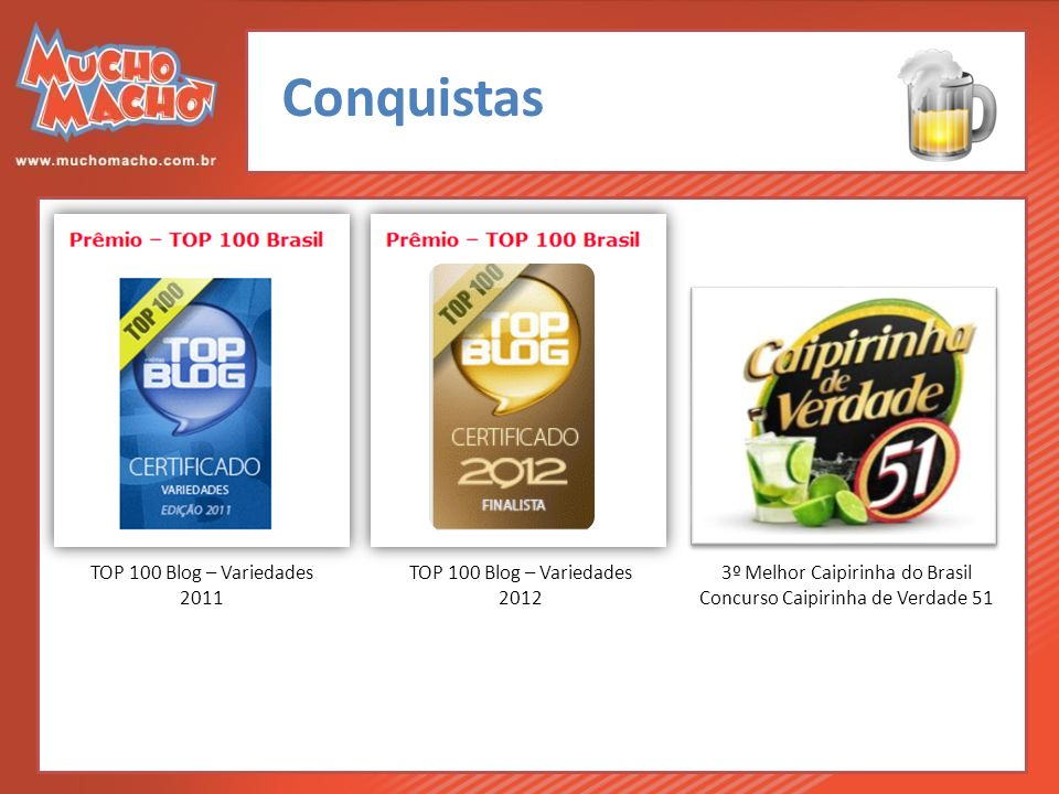 Conquistas 3º Melhor Caipirinha do Brasil Concurso Caipirinha de Verdade 51 TOP 100 Blog – Variedades 2012 TOP 100 Blog – Variedades 2011