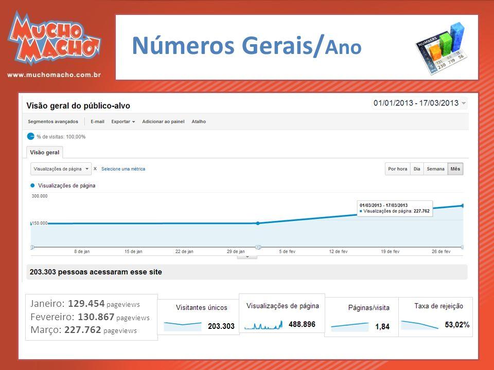 Números Gerais/ Ano Janeiro: 129.454 pageviews Fevereiro: 130.867 pageviews Março: 227.762 pageviews
