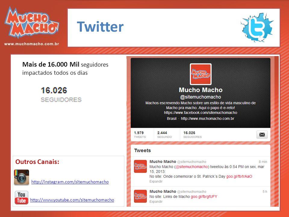 Twitter Mais de 16.000 Mil seguidores impactados todos os dias http://www.youtube.com/sitemuchomacho http://instagram.com/sitemuchomacho Outros Canais: