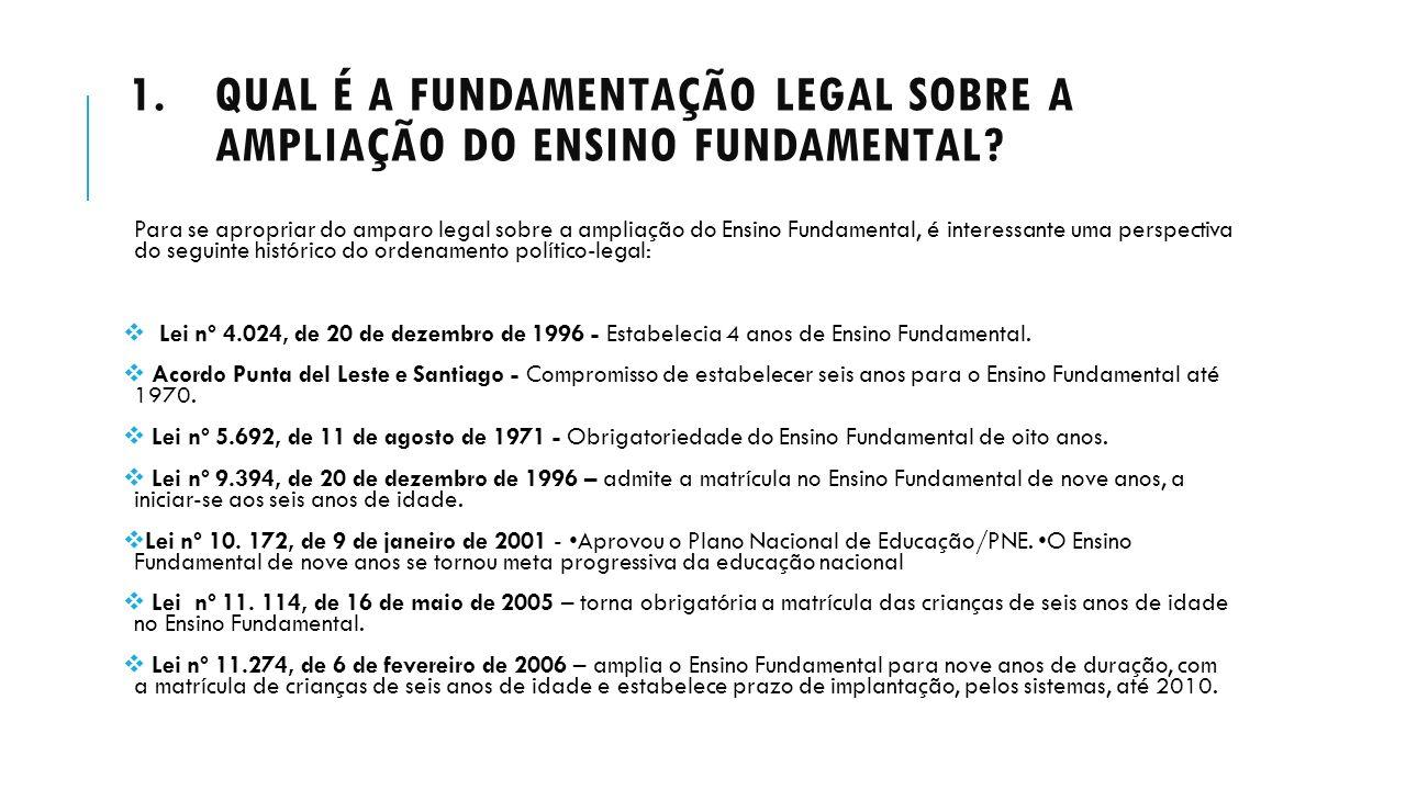 1.QUAL É A FUNDAMENTAÇÃO LEGAL SOBRE A AMPLIAÇÃO DO ENSINO FUNDAMENTAL? Para se apropriar do amparo legal sobre a ampliação do Ensino Fundamental, é i