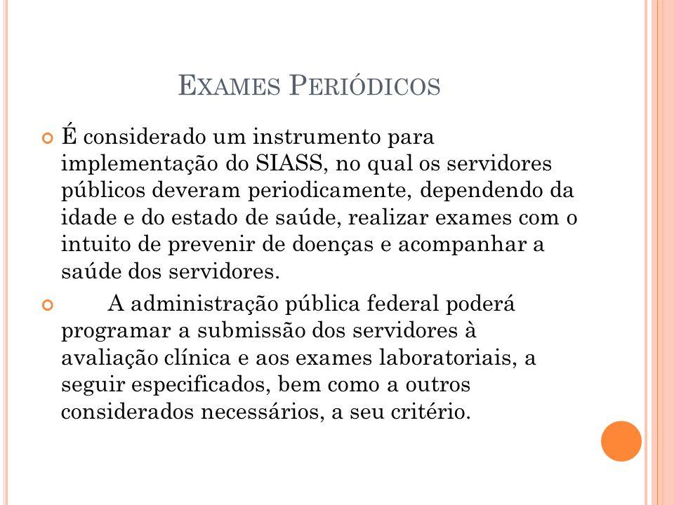 E XAMES P ERIÓDICOS É considerado um instrumento para implementação do SIASS, no qual os servidores públicos deveram periodicamente, dependendo da ida