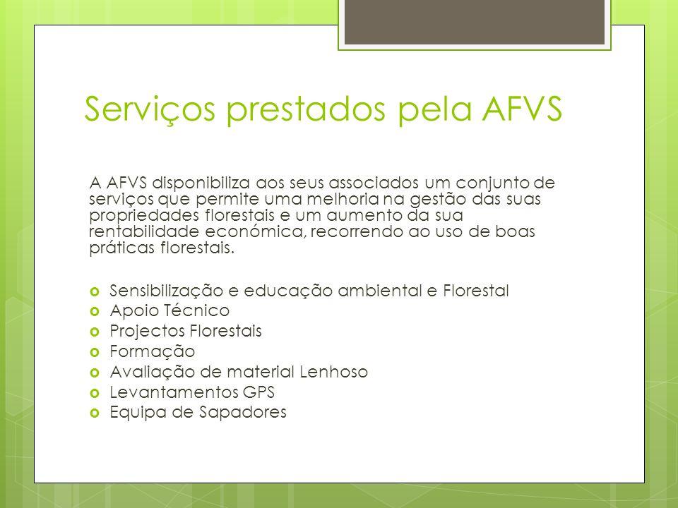 Serviços prestados pela AFVS A AFVS disponibiliza aos seus associados um conjunto de serviços que permite uma melhoria na gestão das suas propriedades