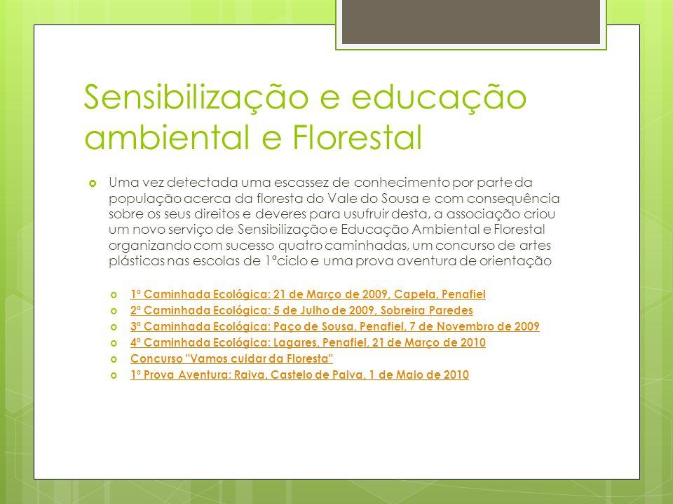 Sensibilização e educação ambiental e Florestal Uma vez detectada uma escassez de conhecimento por parte da população acerca da floresta do Vale do So