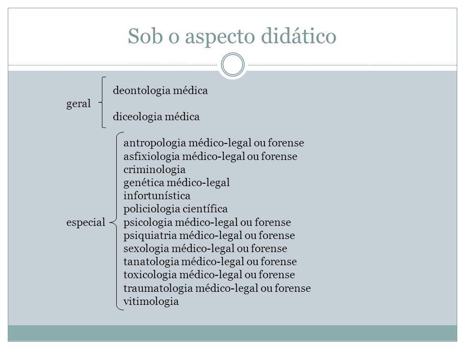 Sob o aspecto didático deontologia médica geral diceologia médica antropologia médico-legal ou forense asfixiologia médico-legal ou forense criminolog