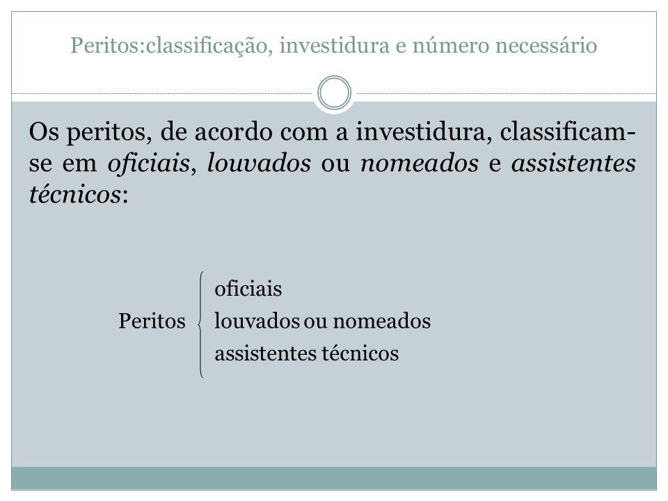 Peritos:classificação, investidura e número necessário Os peritos, de acordo com a investidura, classificam- se em oficiais, louvados ou nomeados e as