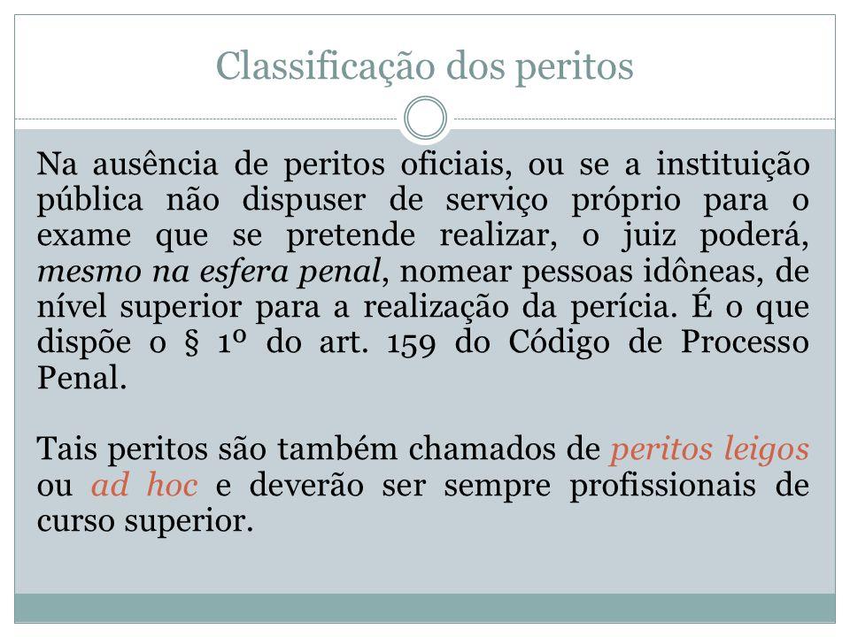 Classificação dos peritos Na ausência de peritos oficiais, ou se a instituição pública não dispuser de serviço próprio para o exame que se pretende re