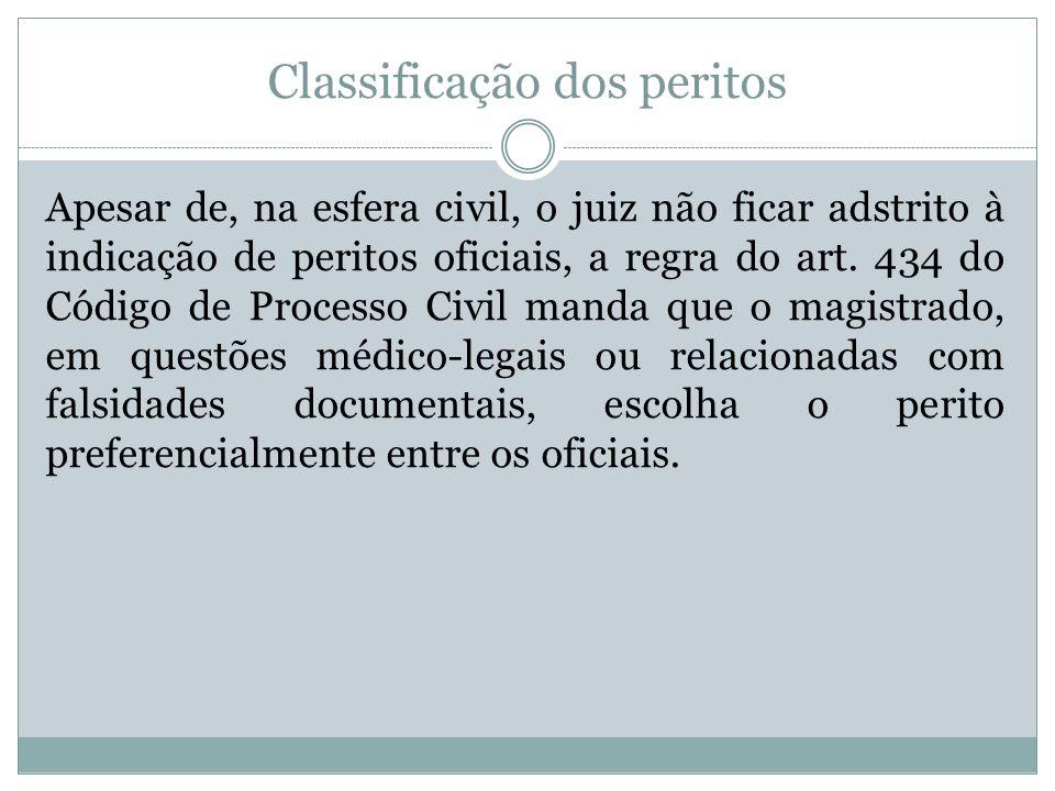Classificação dos peritos Apesar de, na esfera civil, o juiz não ficar adstrito à indicação de peritos oficiais, a regra do art. 434 do Código de Proc