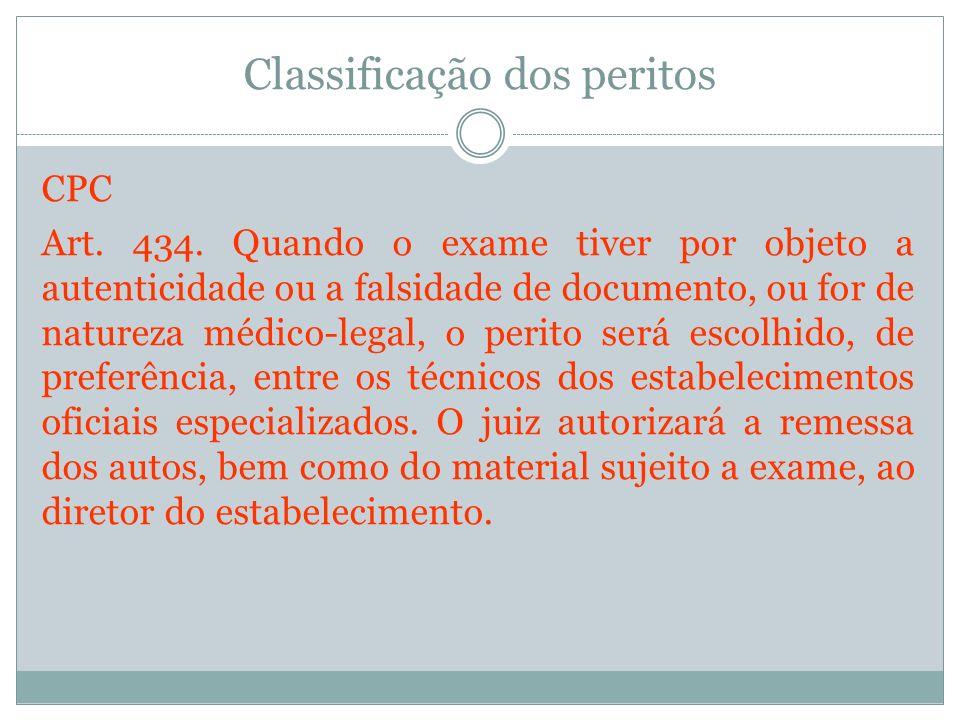 Classificação dos peritos CPC Art. 434. Quando o exame tiver por objeto a autenticidade ou a falsidade de documento, ou for de natureza médico-legal,