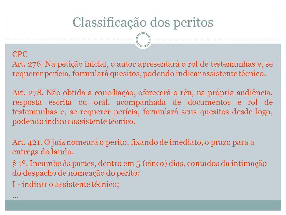 Classificação dos peritos CPC Art. 276. Na petição inicial, o autor apresentará o rol de testemunhas e, se requerer perícia, formulará quesitos, poden