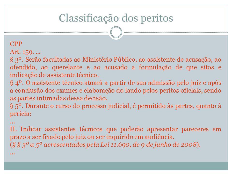 Classificação dos peritos CPP Art. 159.... § 3º. Serão facultadas ao Ministério Público, ao assistente de acusação, ao ofendido, ao querelante e ao ac