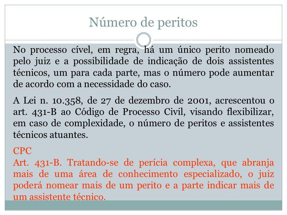 Número de peritos No processo cível, em regra, há um único perito nomeado pelo juiz e a possibilidade de indicação de dois assistentes técnicos, um pa