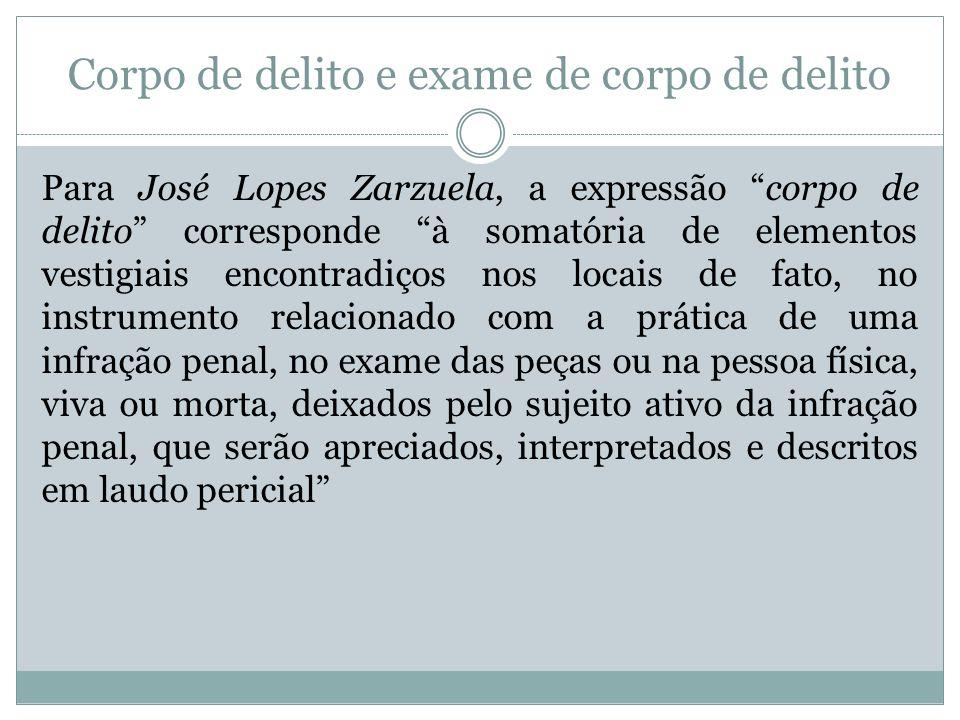 Corpo de delito e exame de corpo de delito Para José Lopes Zarzuela, a expressão corpo de delito corresponde à somatória de elementos vestigiais encon