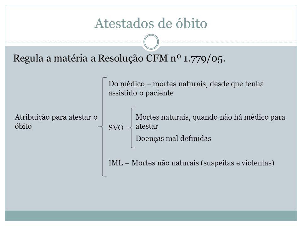 Atestados de óbito Regula a matéria a Resolução CFM nº 1.779/05. Do médico – mortes naturais, desde que tenha assistido o paciente Atribuição para ate