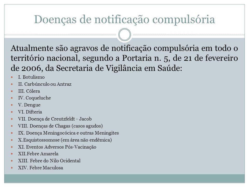 Doenças de notificação compulsória Atualmente são agravos de notificação compulsória em todo o território nacional, segundo a Portaria n. 5, de 21 de