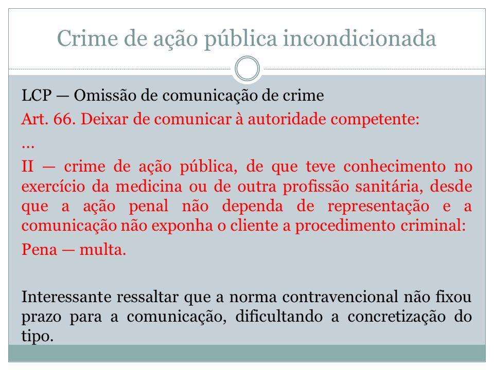 Crime de ação pública incondicionada LCP Omissão de comunicação de crime Art. 66. Deixar de comunicar à autoridade competente:... II crime de ação púb