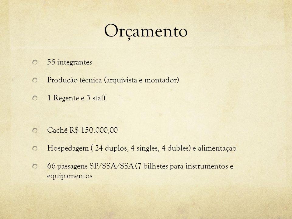 Orçamento 55 integrantes Produção técnica (arquivista e montador) 1 Regente e 3 staff Cachê R$ 150.000,00 Hospedagem ( 24 duplos, 4 singles, 4 dubles)
