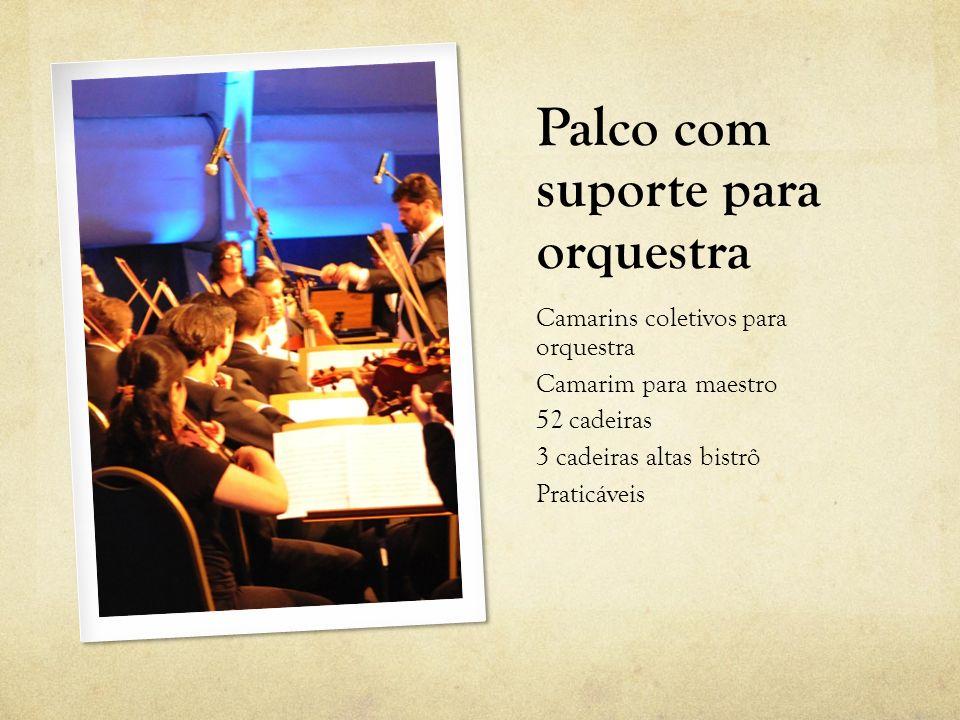 Palco com suporte para orquestra Camarins coletivos para orquestra Camarim para maestro 52 cadeiras 3 cadeiras altas bistrô Praticáveis