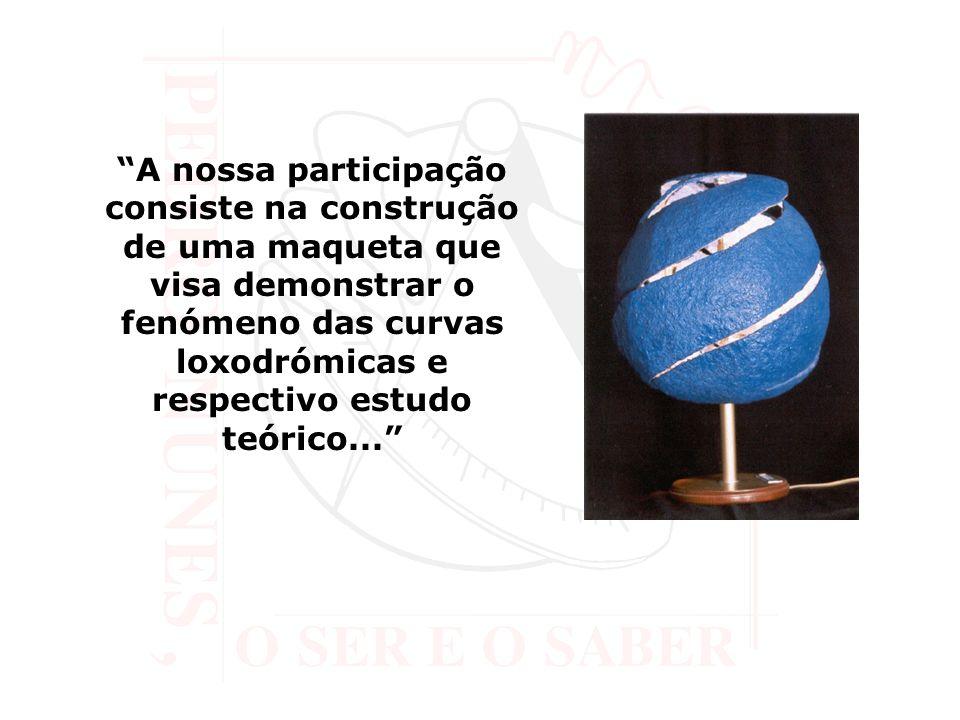 A nossa participação consiste na construção de uma maqueta que visa demonstrar o fenómeno das curvas loxodrómicas e respectivo estudo teórico...