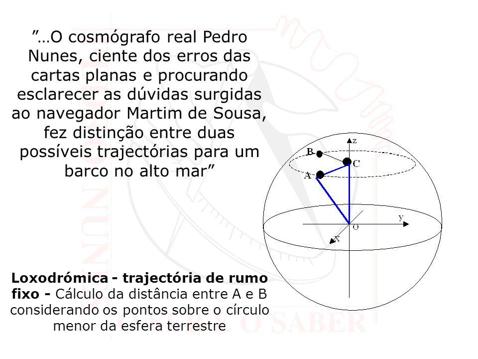 …O cosmógrafo real Pedro Nunes, ciente dos erros das cartas planas e procurando esclarecer as dúvidas surgidas ao navegador Martim de Sousa, fez disti