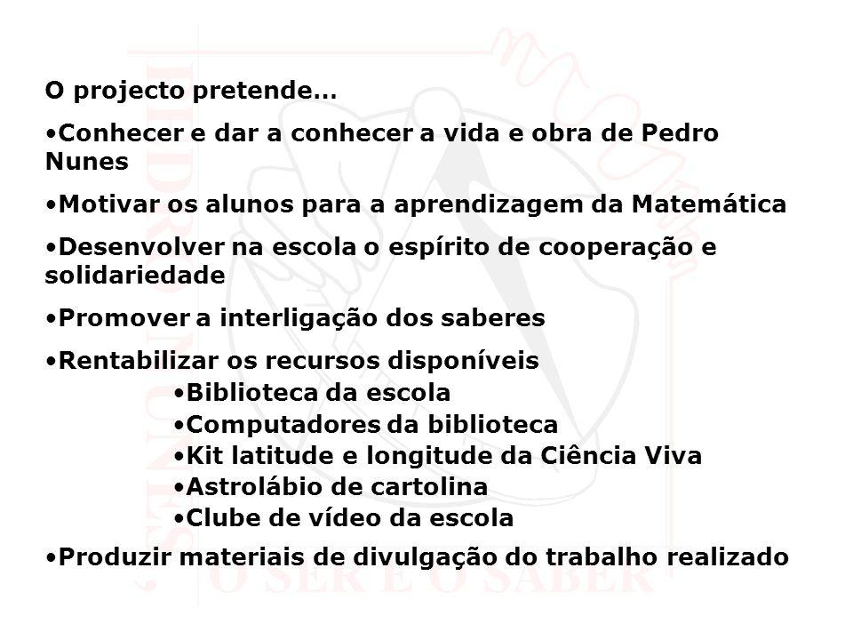O projecto pretende… Conhecer e dar a conhecer a vida e obra de Pedro Nunes Motivar os alunos para a aprendizagem da Matemática Desenvolver na escola