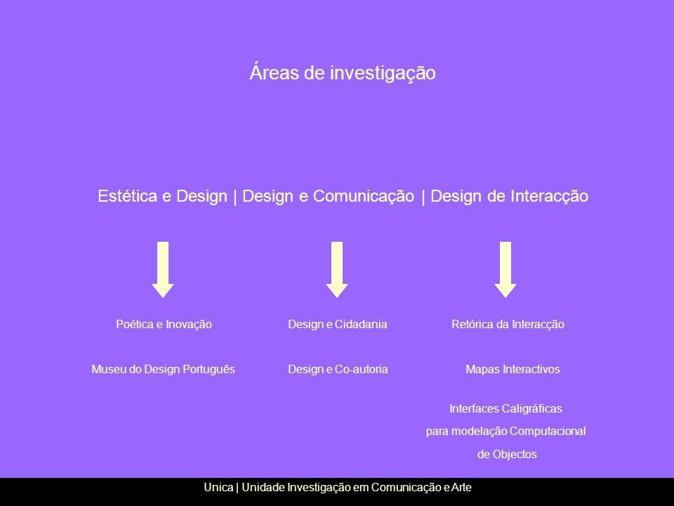 Áreas de investigação Estética e Design | Design e Comunicação | Design de Interacção Unica | Unidade Investigação em Comunicação e Arte Design e Cida