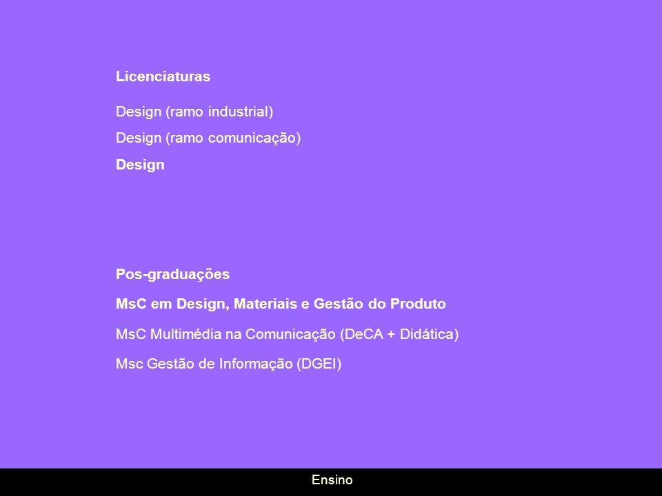 Licenciaturas Design (ramo industrial) Design (ramo comunicação) Design Pos-graduações MsC em Design, Materiais e Gestão do Produto MsC Multimédia na
