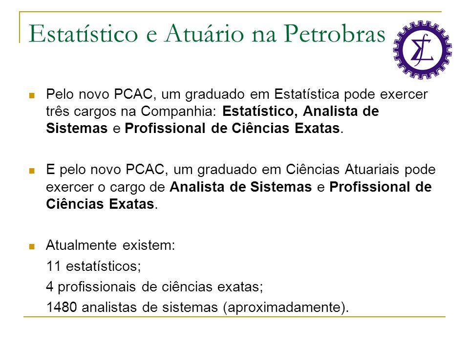 Estatístico e Atuário na Petrobras Pelo novo PCAC, um graduado em Estatística pode exercer três cargos na Companhia: Estatístico, Analista de Sistemas