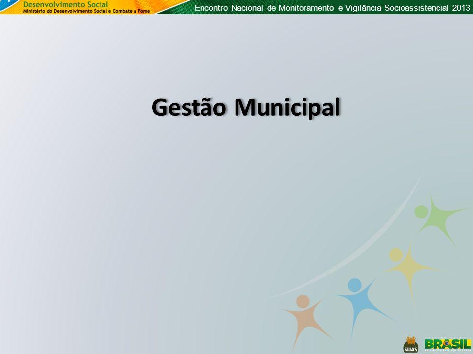 Encontro Nacional de Monitoramento e Vigilância Socioassistencial 2013 Gestão Municipal
