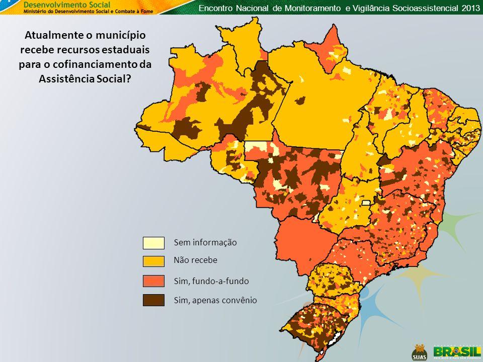 Encontro Nacional de Monitoramento e Vigilância Socioassistencial 2013 Atualmente o município recebe recursos estaduais para o cofinanciamento da Assi