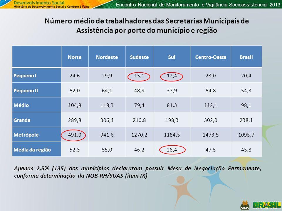 Encontro Nacional de Monitoramento e Vigilância Socioassistencial 2013 NorteNordesteSudesteSulCentro-OesteBrasil Pequeno I24,629,915,112,423,020,4 Peq