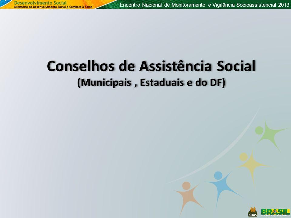 Encontro Nacional de Monitoramento e Vigilância Socioassistencial 2013 Conselhos de Assistência Social (Municipais, Estaduais e do DF) Conselhos de As
