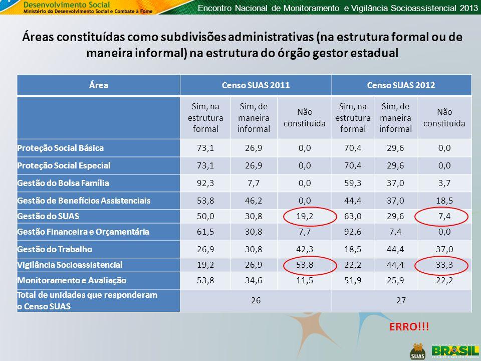 Encontro Nacional de Monitoramento e Vigilância Socioassistencial 2013 Áreas constituídas como subdivisões administrativas (na estrutura formal ou de