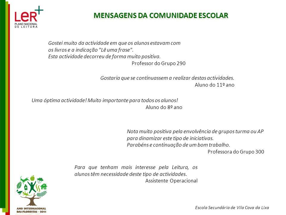Escola Secundária de Vila Cova da Lixa MENSAGENS DA COMUNIDADE ESCOLAR Gostei muito da actividade em que os alunos estavam com os livros e a indicação Lê uma frase .