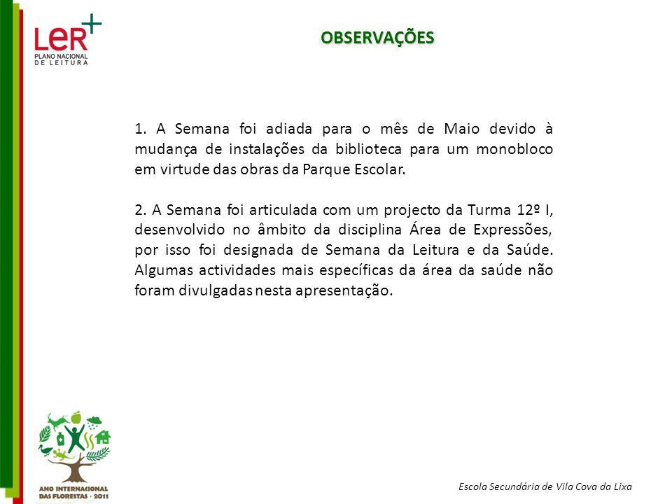 Escola Secundária de Vila Cova da Lixa OBSERVAÇÕESOBSERVAÇÕES 1.