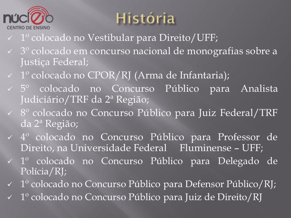 1º colocado no Vestibular para Direito/UFF; 3º colocado em concurso nacional de monografias sobre a Justiça Federal; 1º colocado no CPOR/RJ (Arma de I