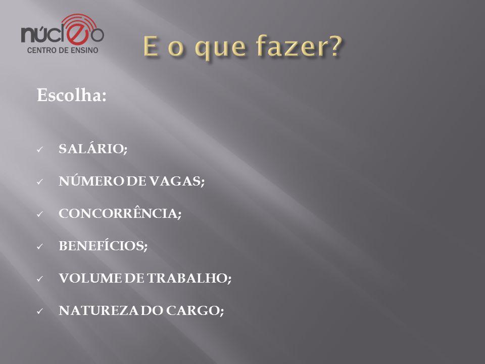 Escolha: SALÁRIO; NÚMERO DE VAGAS; CONCORRÊNCIA; BENEFÍCIOS; VOLUME DE TRABALHO; NATUREZA DO CARGO;